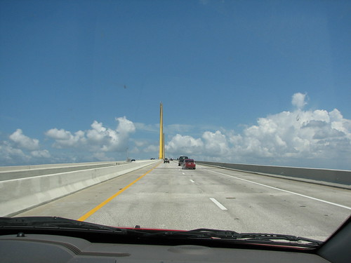 almost to the top of the Sunshine Skyway Bridge