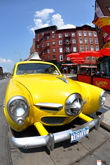 TacoTaxi (laverrue) Tags: park old nyc blue red hot cars car yellow bar umbrella vintage fun restaurant weird funny bright manhattan vibrant cab taxi magic westvillage plate explore mexican taco margarita gothamist studebaker licence calientecab oldsmobile greenwichvillage 7thavenue bleeckerstreet explored tacotaxi