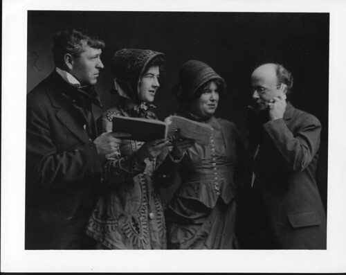 Quartet in costume leading an old fashioned singing school. Photo used in Cornell Reading ...