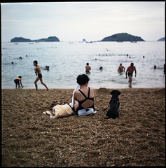 a dog dreams of the sea (beetabonk) Tags: china 120 6x6 mediumformat square dalian 124g   yashicamat mat124g explored fujipro160s fujiazhuangbeach  cndlymfp160s0809021