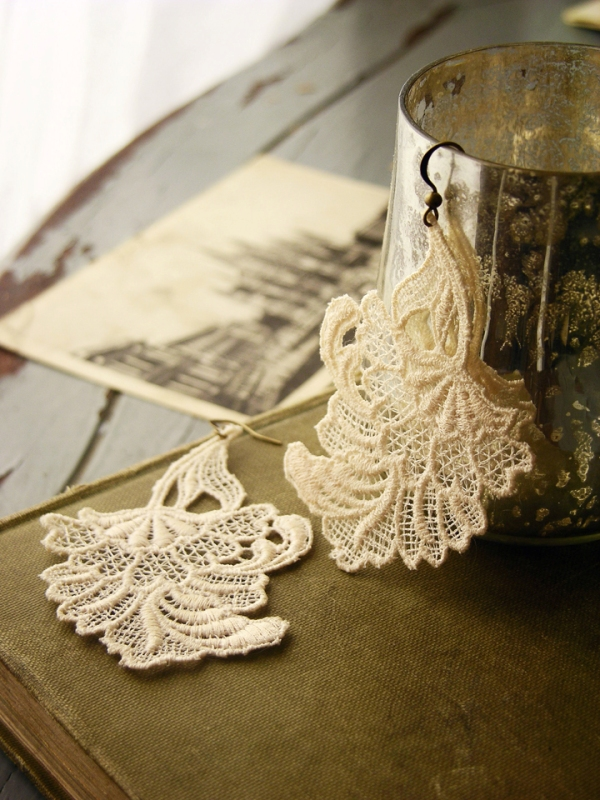 lace earrings by Whiteowl Remade