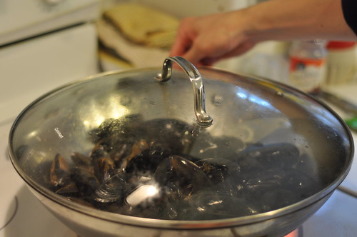 Steaming the mussels