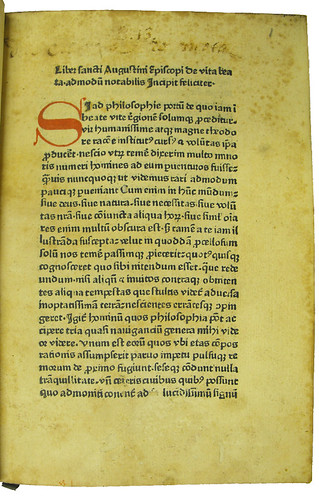 Ownership inscription and shelfmark in Augustinus, Aurelius: De vita beata