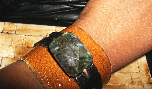 Labradoroite Leather Cuff