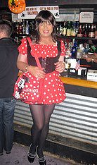 HAPPY HALOWEEN TO ALL! (Lisa Monroe) Tags: sexy stockings girl fetish costume tv dress legs cd tgirl polkadots heels manicure hottie minniemouse petticoat tg minidress