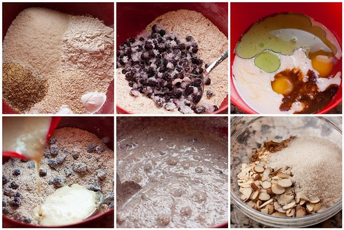 Making the Blueberry Buttermilk Bran Muffins