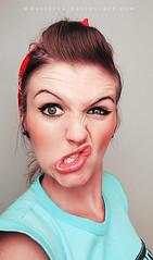 Cheese (basistka) Tags: woman girl cheese expression retro facial pinup basistka xbasistkax