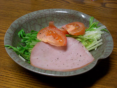 CIMG4231 (ketou-daisuki) Tags: food tomato ham casio supper exilim tomate jambon mizuna exz700