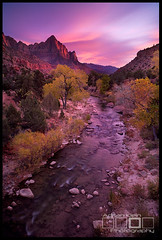 The Watchman - Zion National Park, Utah (Adrian Klein) Tags: park longexposure bridge vegas autumn sunset cold southwest fall nature water beauty canon river utah klein colorful desert scenic vivid icon national saturation destination zion adrian traveling popular iconic gitzo watchman blazing