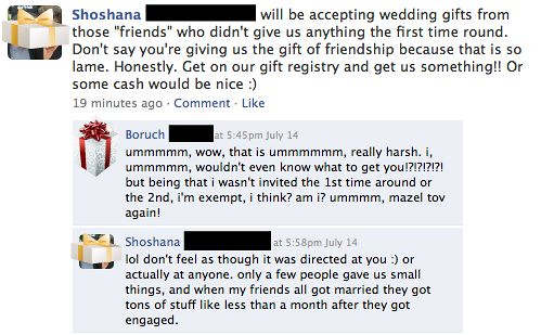 Shoshana will be accepting wedding gifts from those 'friends' who didn't give us anything the first time round. Don't say you're giving us the gift of friendship because that is so lame. Honestly. Get on our gift registry and get us something!! Or some cash would be nice :)