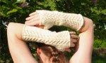 ELF QUEEN 2 - fingerless mitts - handspun/handknit