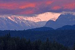 The Many Moods of Mountains (Peggy Collins) Tags: pink blue sky panorama cloud canada mountains silhouette sunrise skyscape landscape dawn interestingness colorful mood moody cloudy britishcolumbia explore pacificnorthwest layers soe penderharbour sunshinecoast daybreak mountainrange blueandpink snowcappedmountains pinkcloud colorfulsunrise mtdiadem peggycollins colorfuldawn