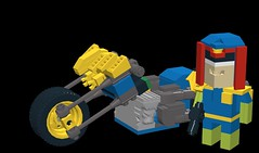 CubeDude Judge Dredd & Lawmaster Motorcycle (SPARKART!) Tags: book comic lego dude cube judge dredd cubedude