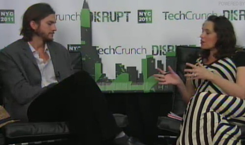 Ashton Kutcher Talks With Sarah Lacy Backstage At TCDisrupt