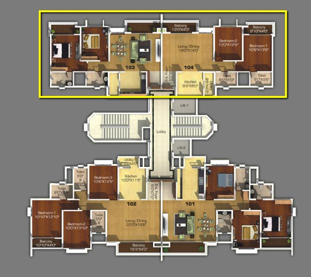 2 BHK Flats - Type 2 - in  D & F Towers, Sangria, Megapolis Hinjewadi Phase 3