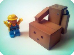 Can we fix it? (willycoolpics.) Tags: toys japanese robot lego action cardboard figure bobthebuilder picnik duplo danbo yeswecan revoltech canwefixit danboard