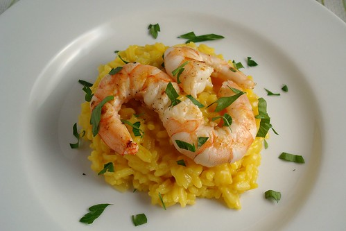 Saffron Risotto with Grilled Shrimp