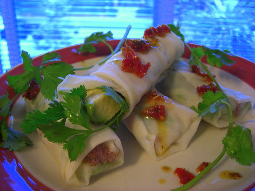 Rice paper rolls with avocado