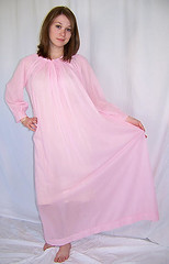 Eve Stillman Sheer Pink Nylon Nightgown Full Length Front (mondas66) Tags: lingerie boudoir nylon nightgown nightgowns nightdress nightwear nightie nighties nightdresses evestillman