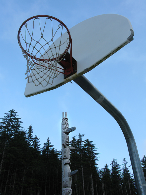 Kasaan, Alaska's Unity Pole and a basketball hoop