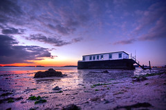 The houseboat (Terry Yarrow) Tags: uk sunset sea england sky abandoned beach water ferry clouds canon reflections evening coast boat houseboat dorset pooleharbour dorsetcoastpath bramblebushbay redhornquay