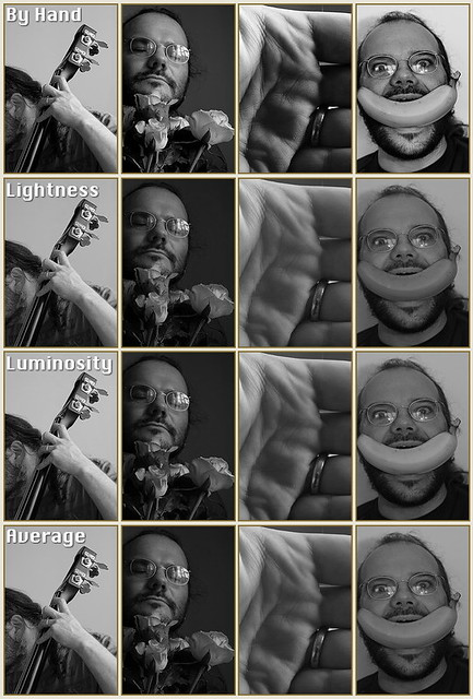 Thumbnail images comparing different desaturation techniques on four different images