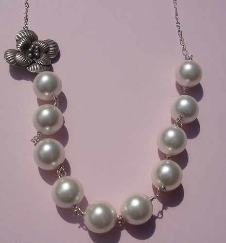 Freshwater Pearl and Vintage Sterling Silver Flower Necklace