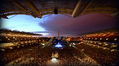 Take me to your leader...U2 360 Dublin (Mick H 51) Tags: world road ireland sunset dublin rock wall night canon u2 eos born jones stand video concert twilight tour angle image dusk stadium hometown stage gig wide sigma 360 images d