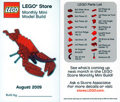 LEGO MMMB - August 2009 (Lobster) (TooMuchDew) Tags: lego august lobster crayfish crawdad prawn legostore redlobster scampi langoustine legoimaginationcenter legoinstructions mmmb toomuchdew monthlyminimodelbuild licmoa rocklobstaah minimodellbauevent