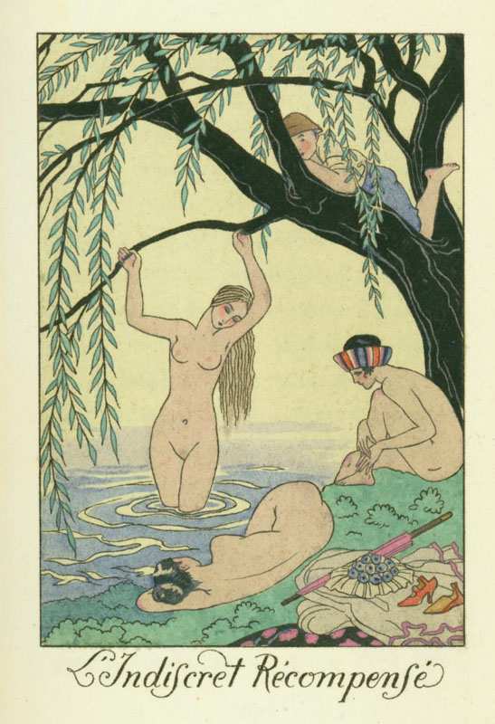 Lindiscret Recompense, illustration by George Barbier for La Guirlande des Mois, 1919.