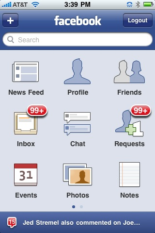 Facebook iPhone screenshot