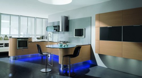 contemporary rounded kitchen design