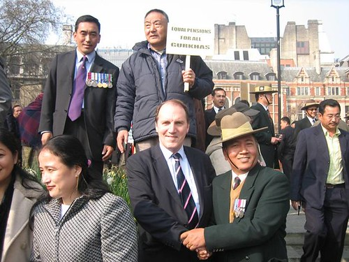 Simon Hughes MP with the Gurkha campaign