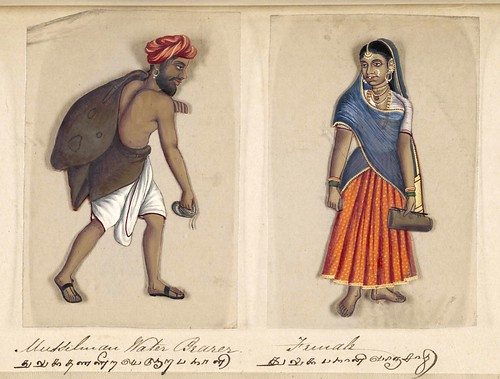 015- Portador de agua Mussilman y su mujer-Seventy two specimens of castes in India 1837