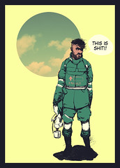 Soldier (Hafaell) Tags: red black green yellow illustration soldier war humor tired shit hafaell