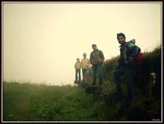 F. R. I. E. N. D. S. (D a r s h i) Tags: morning friends mist green grass fog four friendship torna darshi darshita prashhant