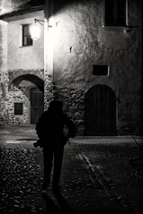 Photographer in the night (klausthebest) Tags: light bw italy night contrast italia photographer nocturnal piemonte piedmont italians candelo abigfave worldbest ricetto ricettodicandelo holidaysvacanzeurlaub angelalobefaro
