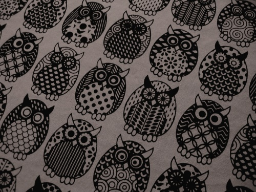 Owl Parliament in licorice & smoke - close