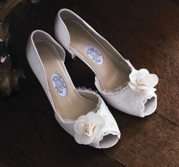 Lace bridal shoes.