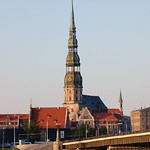 Riga: St Peters Church from the opposite bank of the River Daugava