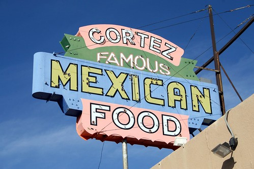 cortez famous mexican food neon sign