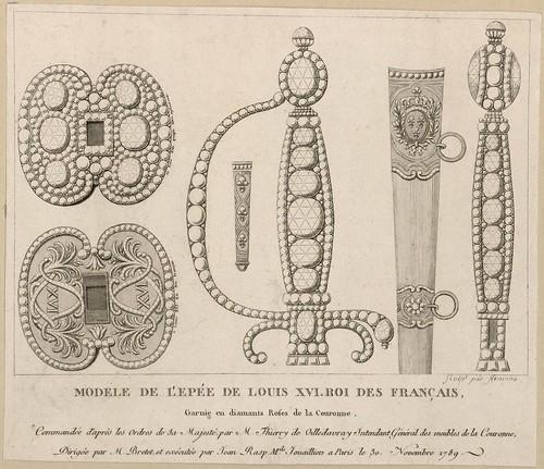 Modèle de l'épée de Louis XVI, en diamants roses de la Couronne, exécutée le 30 novembre 1789 (engraved by Armano)  (Versailles)