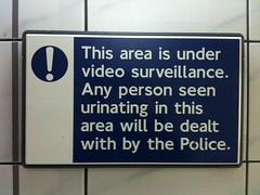 Watch out - you're on pee cam! (Aleksi Aaltonen) Tags: sign warning surveillance police cctv penalty urinating