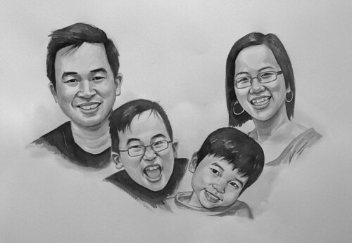my family portraits in black & white watercolour - 3