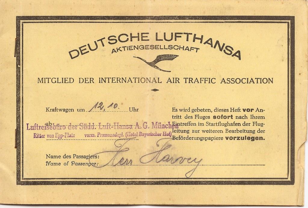 Deutsche Lufthansa airline ticket - 1933
