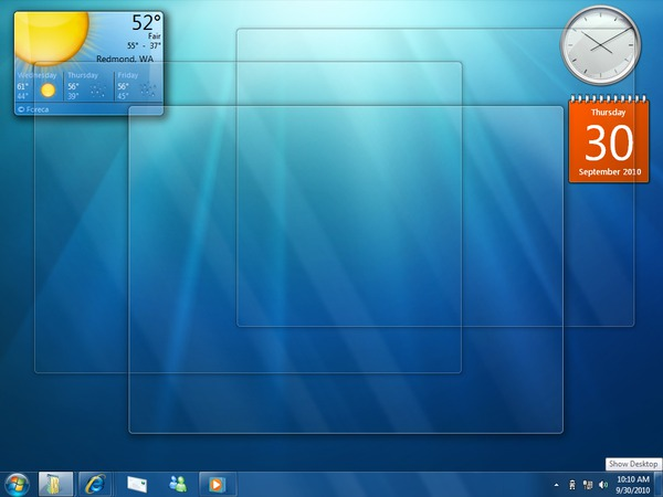 Windows 7 peeking
