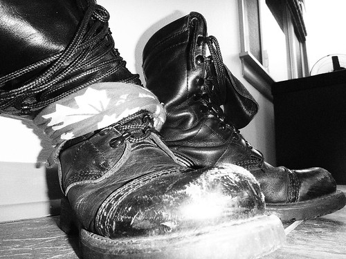 my combat boots, in artsy black and white