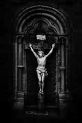 Crucifix (Kimmo J) Tags: blackandwhite bw church leuven statue wall contrast canon belgium religion jesus crucifix canonef1740mmf4lusm heverlee flanders