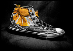 CONVERSE. (CWhatPhotos) Tags: select selective partial popping color colour sneakerhead collection assemble lots many pairs star allstars ox oxford all stars american converse baseball shoe red white rubber sneakers design chuck taylor feet foot wear shoes closeup sole size 11 macro photographs photograph pics pictures pic picture image images foto fotos photography artistic cwhatphotos that have which with contain chucks canvas canvasshoes olympus em5mk ii lunarlon orange hard wearing