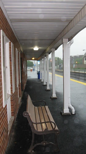 The Morton Grove Metra commuter rail station during a severe thunderstorm. Morton Grove Illinois. Friday, June 19th 2009.